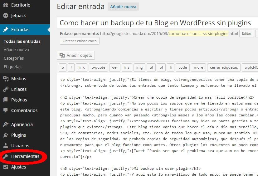 backup sin pugin wordpress