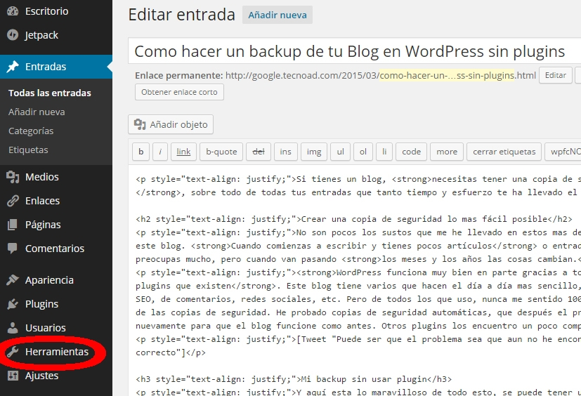 backup sin pugin wordpress