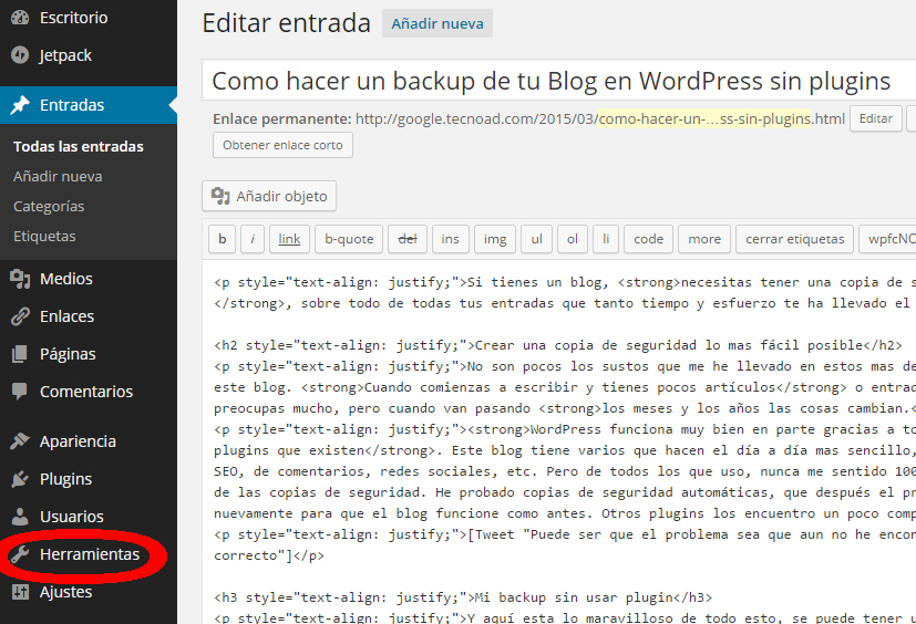 herramientas wordpress backup