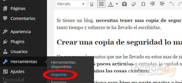 importar backup wordpress